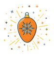 christmas bauble icon in flat style vector image vector image