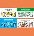 customer relationship management banner set vector image vector image
