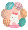 cute rabbit with easter eggs painted vector image vector image