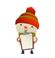 cute snowman holds in his hands blank isolated vector image vector image