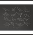 dinosaurus origami set flat black vector image vector image