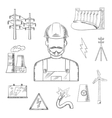 Electricity and power industry icons sketches vector image