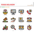 food delivery icon set vector image vector image