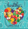 fresh healthy vegetables heart shape vector image vector image