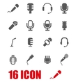 grey microphone icon set vector image vector image