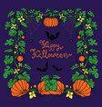halloween colorful frame with pumpkins bats vector image vector image