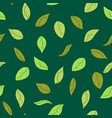 hand drawn green leaves seamless pattern autumn vector image vector image