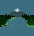 landscape with mountain and forest flowing river vector image