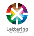 lettering x rainbow alphabet logo icon vector image vector image