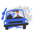man driving car male character using vehicle vector image vector image
