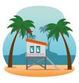 miami beach cityscape scene vector image vector image