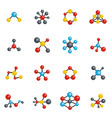 molecular structure chemical icons set vector image vector image