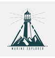 Old banner with lighthouse in mountains vector image vector image