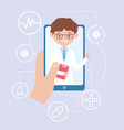 online doctor hand with smartphone app medical vector image vector image