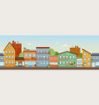 panorama colorful facades buildings in city vector image