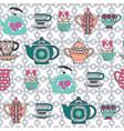 pattern tea cups pots jars cupcake in vector image vector image
