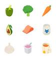 proper diet icons set isometric style vector image