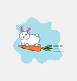 rabbit and carrot cartoon character funny animals vector image vector image