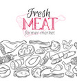 seamless border template meat products vector image