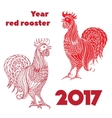 set red roosters hand-drawn doodle contour vector image vector image