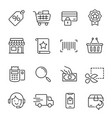 shopping line icons modern monochrome vector image