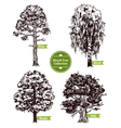 Sketch Tree Set vector image vector image