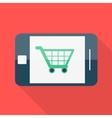 Smartphone Flat design Shopping basket icon vector image