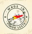 Stamp with map flag of Timor-Leste vector image