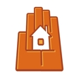 Stylized hand holding a house in the palm vector image vector image