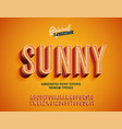 sunny vintage 3d rich textured alphabet vector image vector image