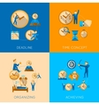 Time management flat composition icons set vector image vector image