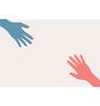 two hands silhouette reaching towards each other vector image vector image