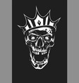 white skull in crown on black background vector image