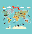 wildlife animals on the world map vector image vector image