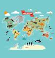 wildlife animals on world map vector image
