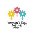 womens day festival logo template design vector image vector image