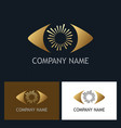 gold eye optic company logo vector image