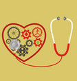 stethoscope and heart consists of gears pulse vector image