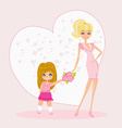 Little girl giving flowers to mom on mothers day vector image