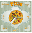 Vintage card with a picture of pizza vector image