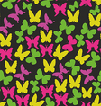 beautiful pattern with butterflies on a black vector image vector image