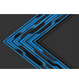 blue circuit line arrow direction on grey vector image vector image