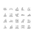 boat line icons signs set outline vector image vector image