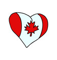 canada isolated heart flag on white background vector image vector image