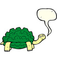 cartoon tortoise with speech bubble vector image vector image