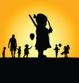 children in nature silhouette vector image vector image