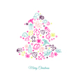 Christmas tree made of a plurality of elements vector image