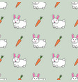 cute seamless pattern with cute rabbits and vector image vector image