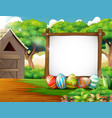 decorated easter eggs and board blank sign in a fa vector image vector image
