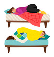 depressed woman and man in bed - depression vector image